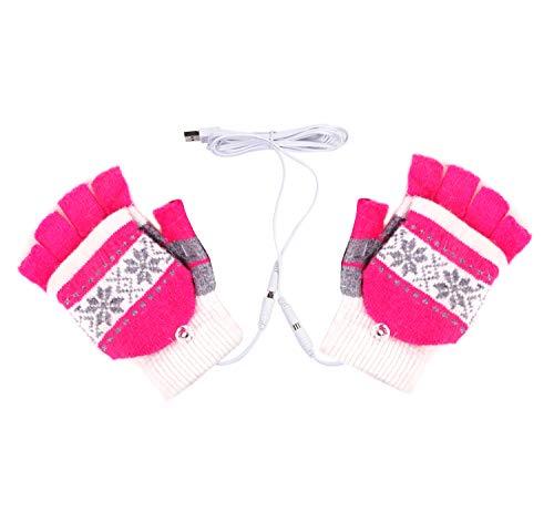 Fletion, guanti riscaldati, con usb 2.0, guanti invernali senza dita, guanti a manopola, da donna, adatti per utilizzare il computer, ottima idea regalo per natale, pink