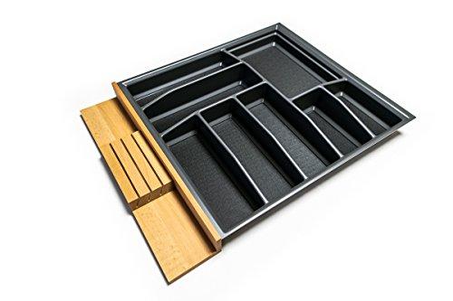Besteckkasten für 70er Schublade | Besteckeinsatz mit Antirutschboden | Made in Germany | Alle gängigen Maße wählbar (anthrazit, 626 mm x 473,5 mm (70er Hettich))