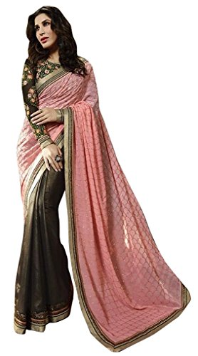SUNSHINE Pink Color Georgette & Dupion Fabric Embroidery Saree ( New Arrival Latest Best Design Beautiful Dresses Material Collection For Women and Girl Party wear Festival wear Special Function Events Wear In Low Price With High Demand Todays Special Offer and Deals with Fancy Designer and Bollywood Collection 2017 Punjabi Anarkali Chudidar Patialas Plazo pattern Suits )