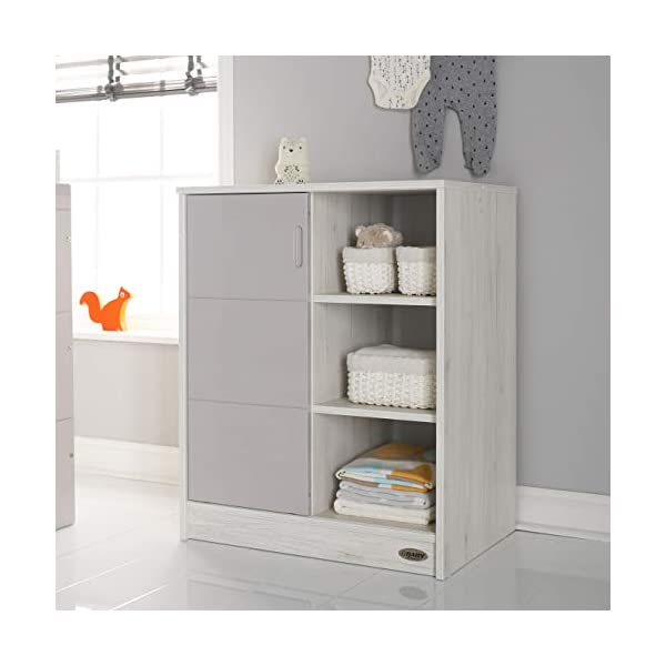 Obaby Madrid Storage Unit, Lunar Obaby Left side offers the option of a hanging rail and shelf or three shelves Right side has 3 fixed shelves Option to add the removable changing top to turn into a changing unit 1