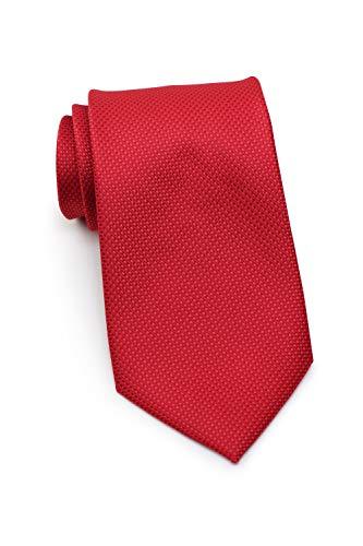 Puccini XXL Krawatte Herren, strukturiert, einfarbig, verschiedene Farben, Krawatte Überlänge, Satin-Glanz, Mikrofaser, 8,5 cm, Handarbeit, Rot, 160 cm lang, 8,5 cm breit