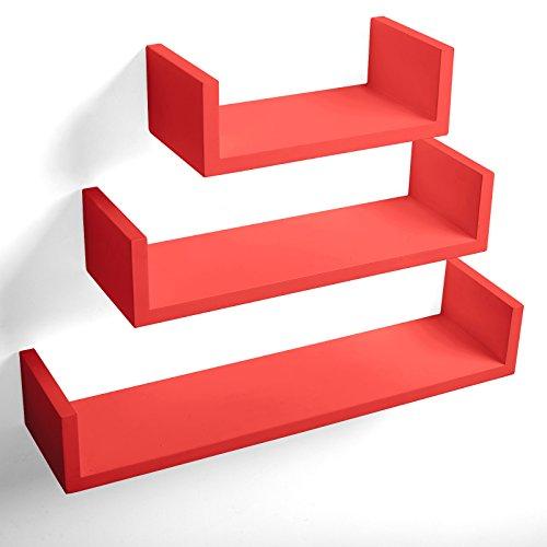 WOLTU rg9239nrt 3er Set Wandregal Wandboard U Form Holzregal Bücherregal Hängeregal Regalsysteme, Tiefe 15 cm, 60.5/45.5/30.5 cm, rot
