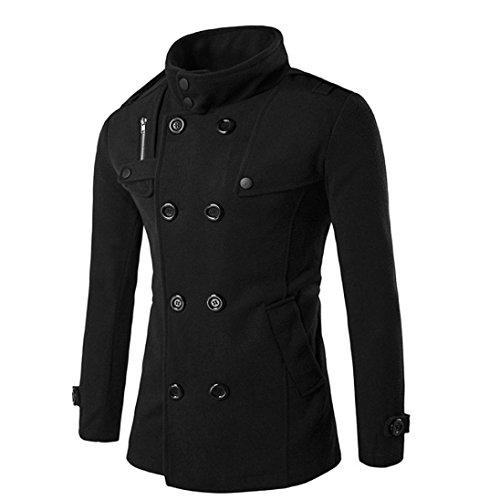 Vêtements homme, Yogogo 4 couleurs Mode Hommes Automne hiver Bouton double rangée Manteau Noir