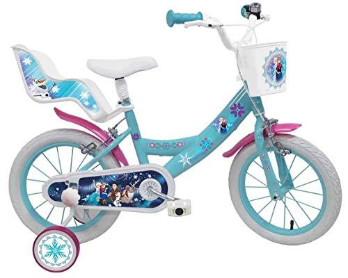 Denver 25283, mondo toys-bici mod. frozen ii per bambino misura 16'' -rotelle e freno anteriore/posteriore-colore azzurro/rosa, multicolore