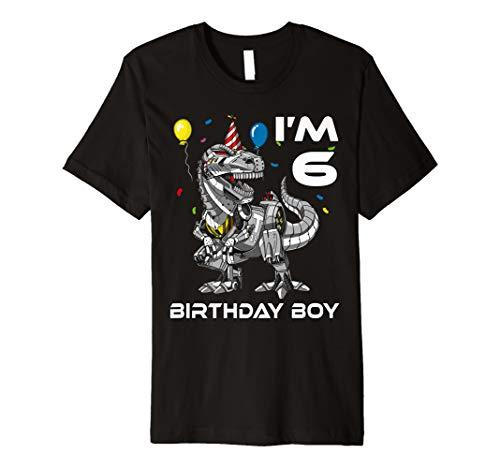 T-Rex Dinosaurier Roboter Geburtstag 6 Jahre Alt Kind Shirt - Roboter-t-rex