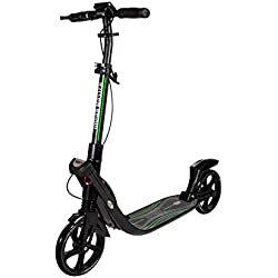 Mad Wheels Big Wheel Scooter Urban Master, 1 Second Foldable Design, Handlebar Brake, Lightweight Construction, Double Suspension ... (Noir)
