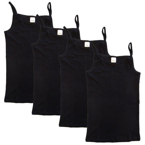 HERMKO 2460 4er Pack Mädchen Träger Top, Unterhemd, Farbe:schwarz, Größe:128 - Spaghetti-mädchen-shirt