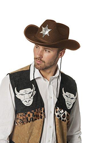 Jannes 9565 Cowboy-Hut Dallas Sheriff Stern Silber Wilder Westen Erwachsene Einheitsgröße Braun