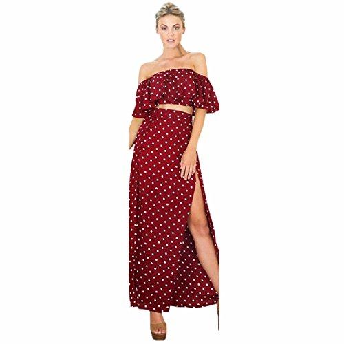 Lilicat Damen Vintage Sommerkleid Aus Schulter Langes Maxikleid Frauen Ärmellos Strandkleid Elegant Abendkleid Feierliche Anlässe Partykleid Casual Sundress (M, Rot)