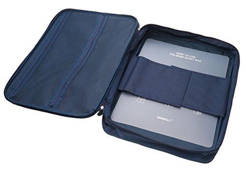 Diniwell Hemdentasche für knitterfreie Hemden auf Reisen | Ideal für Transport in Koffer Reisetasche Handgepäck | Kleidertasche inkl. Falthilfe, blau (Anzug-reisetasche)