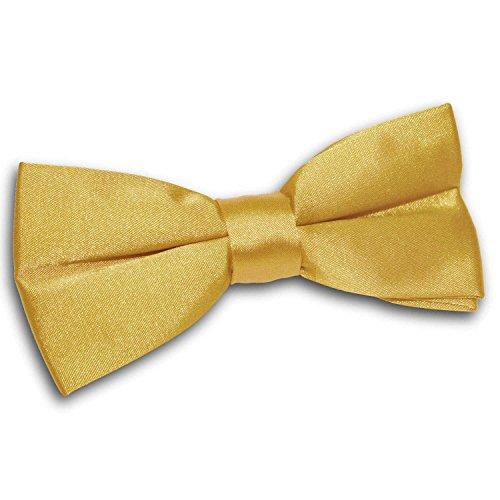 DQT Premium Satin Plain Solid Gold Men's Pre-tied Bow Tie Gold Pretied Bow Tie