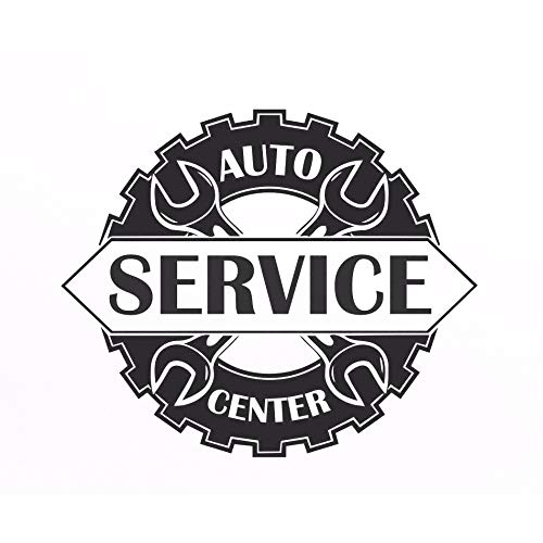 Auto Service Center Logo Window Sticker Vinyl Decal Repair Car Station Sign Garage Wall Decorations Removable Art Decals Gray 67x56cm -