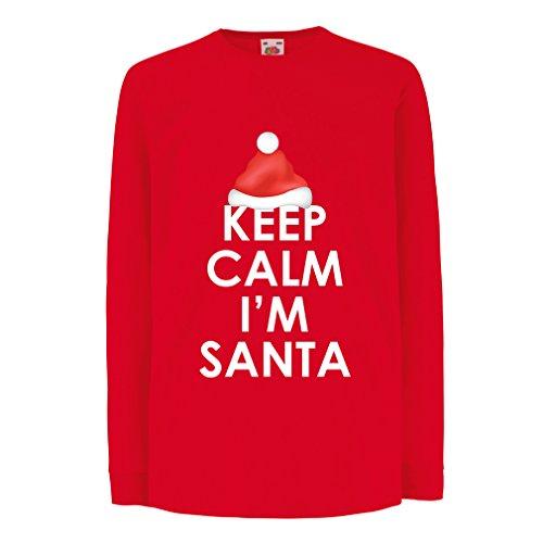 irt mit Langen Ärmeln Bleib 'ruhig, ich Bin Weihnachtsmann, lustige Weihnachtsferien (5-6 Years Rot Mehrfarben) ()
