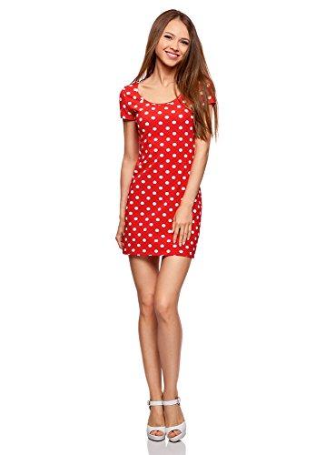 oodji Ultra Damen Enges Jersey-Kleid, Rot, DE 40 / EU 42 / L