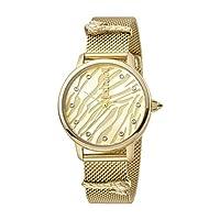 ساعة انيمالير للنساء من جاست كافالي، بمينا اصفر ذهبي وسوار من الستانلس ستيل، ساعة انالوج - JC1L126M0065