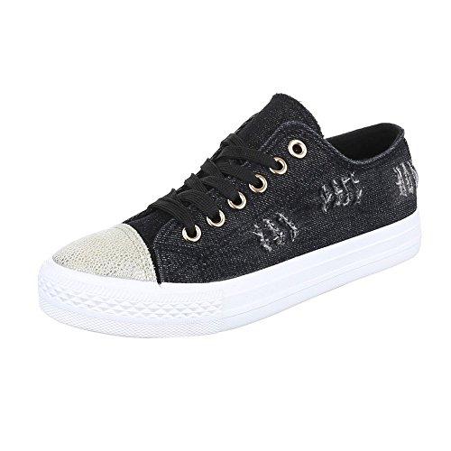 Low-Top Sneaker Damenschuhe Low-Top Sneakers Schnürsenkel Ital-Design Freizeitschuhe Schwarz