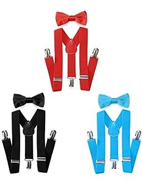 JewelryWe Hochwertige Kinder Hosenträger-Y Form mit Fliege- 3 Clips EXTRA STARK-Uni Farben