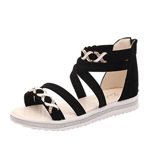 Sandalen Damen Sommer, Sannysis Frauen flache Schuhe Sommer weiches Leder Freizeit Damen Sandalen (40, Schwarz)