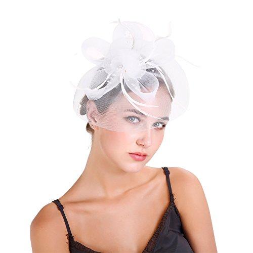 ZYCC Frauen Vintage Fascinators Hüte, elegante Mesh Blume Schleier Fascinator Cocktail Party Fascinator Hut Pillbox Hut (Weiß)