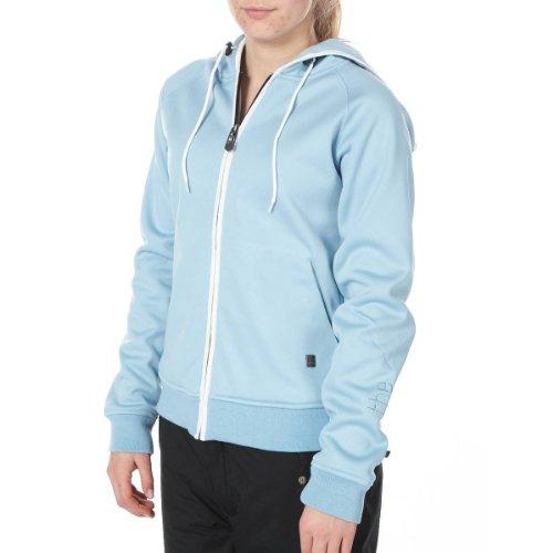 LIGHT Damen Bonded Hooded Fleece Pullover Cream, light Blue/White, L, LSDLBF0113, Damen Bonded Fleece