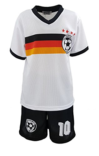 Kinder-spiel-fußball-trikot (Unbekannt Fussball Fan Set Deutschland Germany Trikot + Shorts Gr. 110/116 JS78.6)