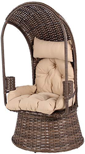 Mr. Deko Korbsessel Como mit Korbuntergestell - Stuhl - Sessel - Relaxliege - Gartenliege - Outdoormöbel - für Balkon, Terrasse, Wintergarten,Garten