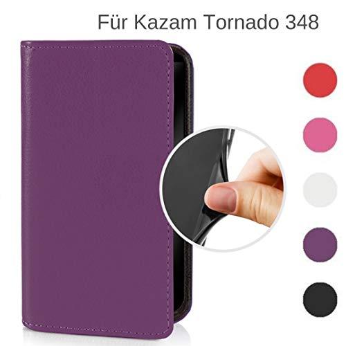 MOKASY Tornado 348 Hülle kompatibel mit Kazam ☑️ Tornado 348 ☑️ unzerbrechliche Schutzhülle Handyhülle aus Silikon mit Magnetverschluss und Fach Lila