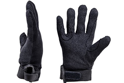 Handschuhe zum Reiten, aus leichter Baumwolle, mit Klettverschluss, gummierte Handfläche, Unisex, für Erwachsene, Kinder, alle Größen, schwarz, schwarz