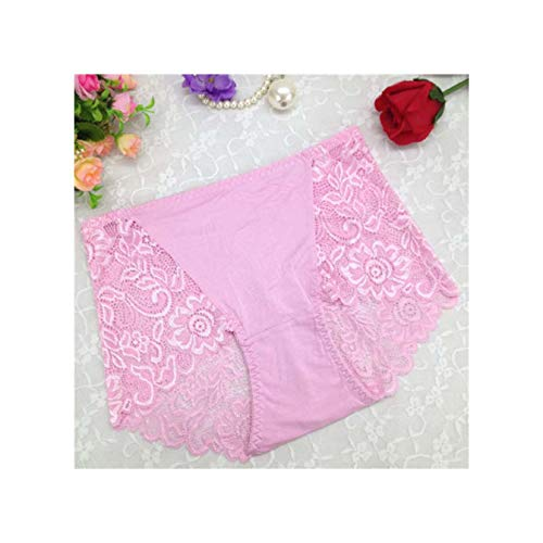2019 Women Hollow Out Sexy Underwear High Waist Culotte Panties Briefs Transparent Solid Boxer Shorts Lingerie Floral Pink One Size -