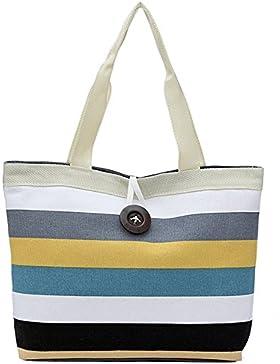 Frauen Leinwand Handtasche,Sopear Women Shoulder Handbag Colorful Stripe Canvas Shopping Bag Tote Shoulder Bag