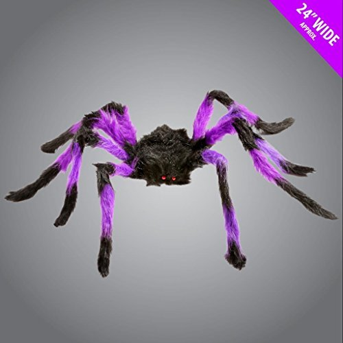 Large Giant Furry Spider Stripey Legged Props Halloween Decoration Party 24Wide by Scream Machine