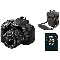 نيكون D5300 دي اس ال ار كاميرا 24.2 ميجابيكسل 3.2 انش ال سي دي اسود مع عدسة 18-55 ملم مع حقيبة و اس دي كارد 8 جيجابايت