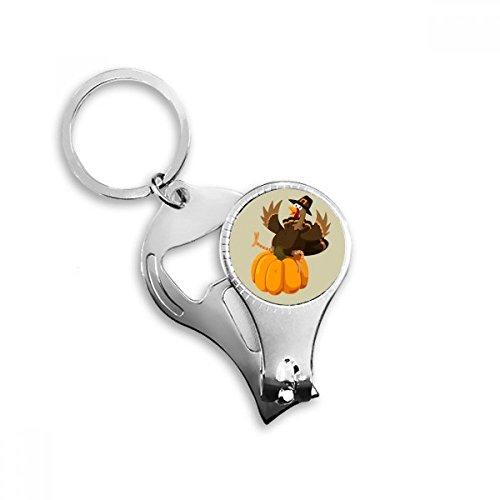 BeatChong Happy Thanksgiving Day Kürbis-Muster Schlüsselanhänger Ring Multifunktionsnagelknipser Flaschenöffner Geschenk