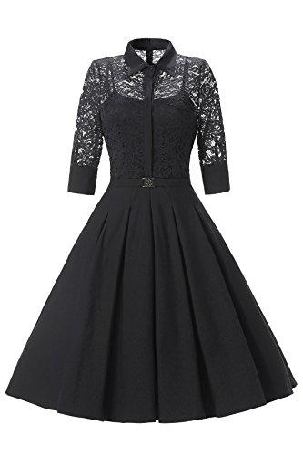Gigileer Elegant Damen Kleider Spitzenkleid Cocktailkleid Winter Knielanges 3/4 Arm festlich hochzeit schwarz M (Kleid Neckholder Satin Plissee)