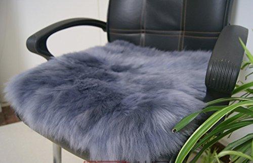 100% echt Lammfell Stuhlkissen Auto Sitzbezug Vordersitzbezug Sitzkissen Sitzpolster Kissen mit Gurt 45x45cm Blaue Asche - Asche-möbel