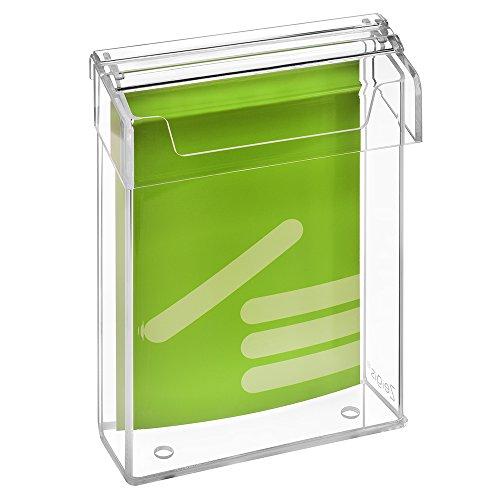 DIN A5 Prospektbox / Prospekthalter / Flyerhalter im Hochformat, wetterfest, für Außen, mit Deckel, aus glasklarem Acrylglas - Zeigis®