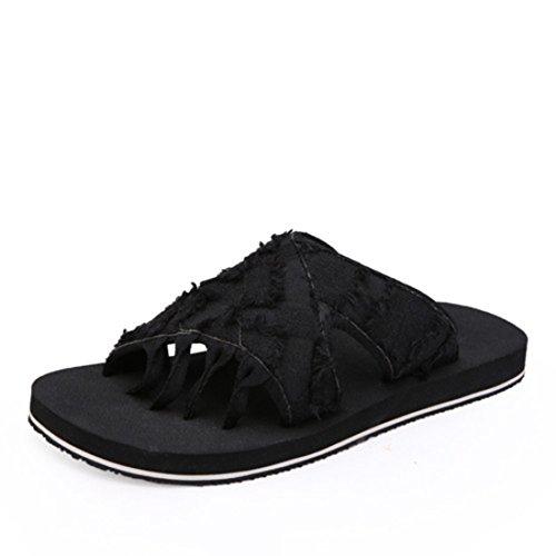 Men's Roman Style Flip Flops Beach Slippers Black