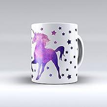Taza decorada desayuno regalo original diseño estampado estrellas con unicornio fondo nebulosa