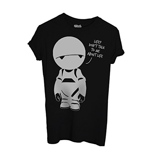 MUSH T-Shirt Hitchhiker's Guide to The Galaxy Marvin Pranoid Android - Film by Dress Your Style - Damen-XL-Schwarz (T-shirt Android)