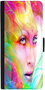 Snoogg Colorful Hair Woman 2769 Designer Protective Phone Flip Case Cover For Apple Iphone 5 / 5S