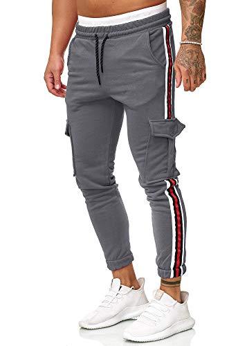 Cindeyar Herren Jogginghose Sportshose Trainingshose Jogger Hose Slim Fit Lang Sweatpants Streifen Freizeit Hosen(DGA,m)