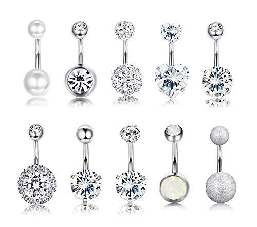 Yadoca 10 pezzi in acciaio inox bar balls anello del tasto di pancia 14g body body piercing all'ombelico per le donne