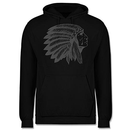 Boheme Look - Indianer Häuptling Handzeichnung - XL - Schwarz - JH001 - Herren Hoodie Weiße Indianer-häuptling Hat