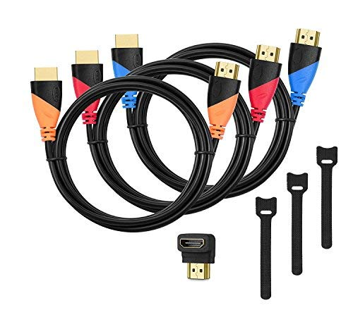 HDMI Kabel 3 Pack 1,8m (L) Hochgeschwindigkeit mit 90 Grad Winkel Adapter, 3 pack Kabelbinder, High Speed HDMI Kabel für 4K 3D Video, HD TV, 1080P, Xobox One, PS4, PS3, Wii, Ethernet, Computer, Laptop usw
