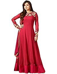 SKYBLUE FASHION Women's Georgette Dress Material (NITYA_RED_Free Size_Red)