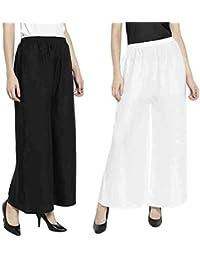CLOUD STAR Women's 100% Pure & Soft Rayon Pant Palazzo Combo (Black & White, Free Size)