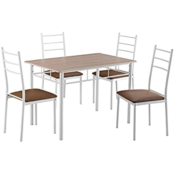 IKAYAA 5tlg Klappbar Essgruppe Tischgruppe Multi-Funktions Tisch Set ...