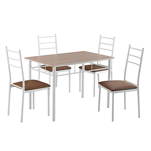 Essgruppe EDMONTO Sitzgruppe Esszimmertisch Set Esstisch in Sonoma Eiche inkl. 4 Stühle