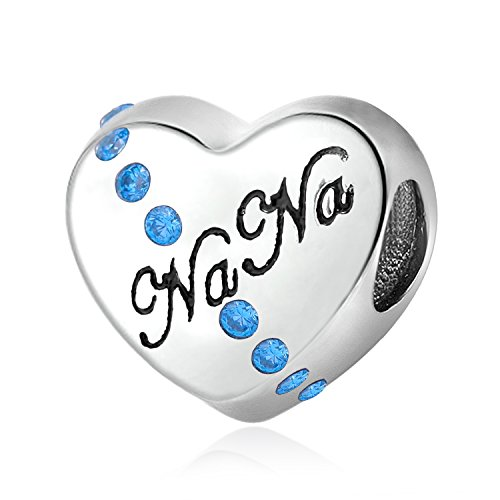 Ich Liebe Sie Nana Herzform 925Sterling Silber Charms Synthetik Geburtsstein Dezember Sky Blau CZ für Armbänder Ketten (Pandora Charm Geburtsstein Dezember)