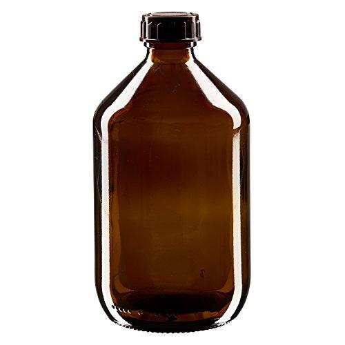 Preisvergleich Produktbild 20 x Euro-Medizinflasche 500ml,  braun PP28,  mit braunem Schraubverschluss Standard